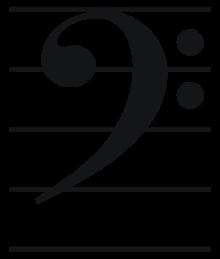notenbalk met f-sleutel