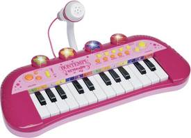 Een roze speelgoed keyboard
