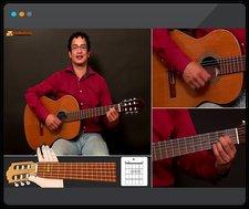 Een man die gitaar leert spelen in een online gitaarcursus