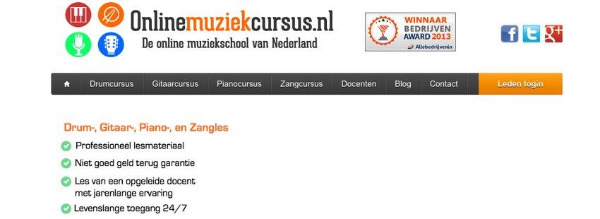 De website van onlinemuziekcursus.nl