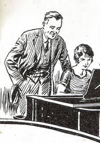 Een pianoleraar die een vrouw pianoles geeft