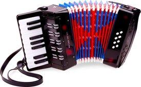 Een New Classic Toys accordeon met echte toetsen