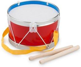 Een New Classic Toys trommel in rood en blauw