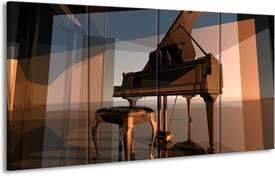 Een kunstige afbeelding van een piano op glas
