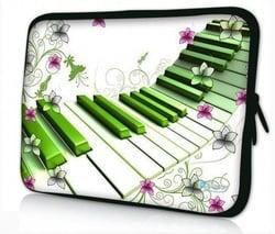 Een laptophoes met de opdruk van een piano