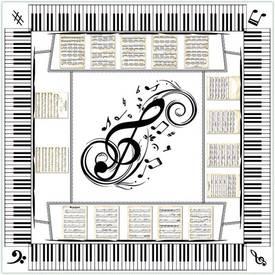 Een tafelkleed waarop een piano klavier is afgedrukt